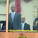 President Shri Pranab Mukherjee, PM Shri @narendramodi with US President Mr @BarackObama at #RepublicDay2015 Parade. http://t.co/a1xGcxiwqj