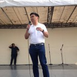 PHOTO: Makati Mayor Junjun Binay faces his supporters in front of Makati City Hall http://t.co/SYwNQBT98W  ... http://t.co/Ag2VnKFRZv