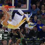 The fan reactions in the background are almost cool as @StephenCurry30s KNEE touching the backboard! #Warriors http://t.co/98ttcRcsPP