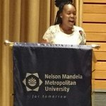 #NMMU10, 2015 SRC president Hlomela Bucwa @AdvBucwa addresses the audience at the SRC investiture. http://t.co/87MsUspiNv