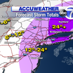 Expected Snowfall Totals for the NYC Tri-State Area. We tweaked the numbers on Long Island. http://t.co/wEVtUiyluy