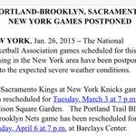 Tonights @trailblazers/@BrooklynNets & @SacramentoKings/@nyknicks games postponed. http://t.co/wk1uCjPXA3