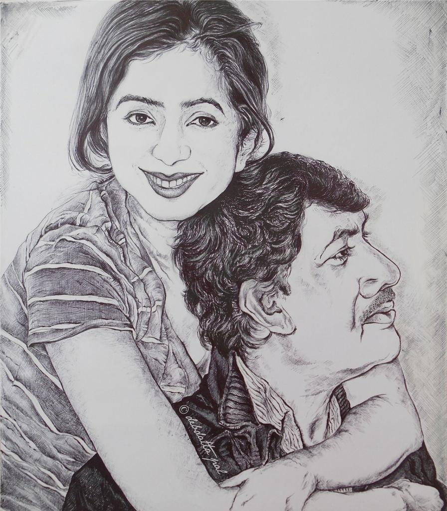 My new sketch! @shreyaghoshal with her dad :) #PenArtwork #inspiration http://t.co/FzOhbMHdYx