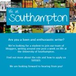 Inspired by @robinpjohnson7? New Life at Southampton bloggers needed @unisouthampton APPLY: http://t.co/4JfZzdamvd http://t.co/ciUFWUghDe
