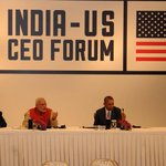PM Shri @narendramodi and US President Mr. @BarackObama at the India-U.S. CEO Forum in New Delhi http://t.co/LyIlpVyACE