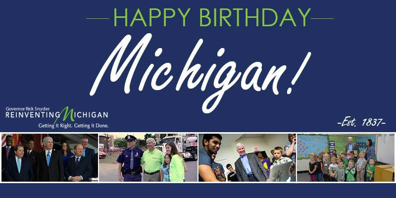 178 years ago today, Michigan joined the Union as the 26th state. Happy Birthday, Michigan! http://t.co/OXVhbyAqoc