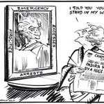 RT @IndiaHistorypic 1975 : Cartoon by RK Laxman on Indira Gandhi imposing Emergency http://t.co/02KpgZCSkA