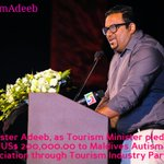@Ahmed_Adeeb, as Tourism Min. pledges US$ 200,000.00 to Maldives Autism Association through Tourism Industry Partners http://t.co/ORoVMTpMXt