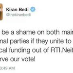On question of funding, @thekiranbedi says All parties following laws which is in place. So what was this ? http://t.co/9Y4oJ8My0I