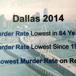 #Dallas 2014: Murder Rate Lowest in 84 Years! @DPDChief @DallasPD w/ 2nd Lowest Murder Rate on Record! http://t.co/sqjDQyD0Bl
