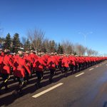 #RCMP officers march to Servus Credit Union Place to honour Cst. David Wynn. http://t.co/sHDUeuuVjP