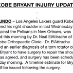 Kobe Bryant will have surgery on his torn rotator cuff on Wednesday and will miss the rest of the season. http://t.co/TOokJEFvDp