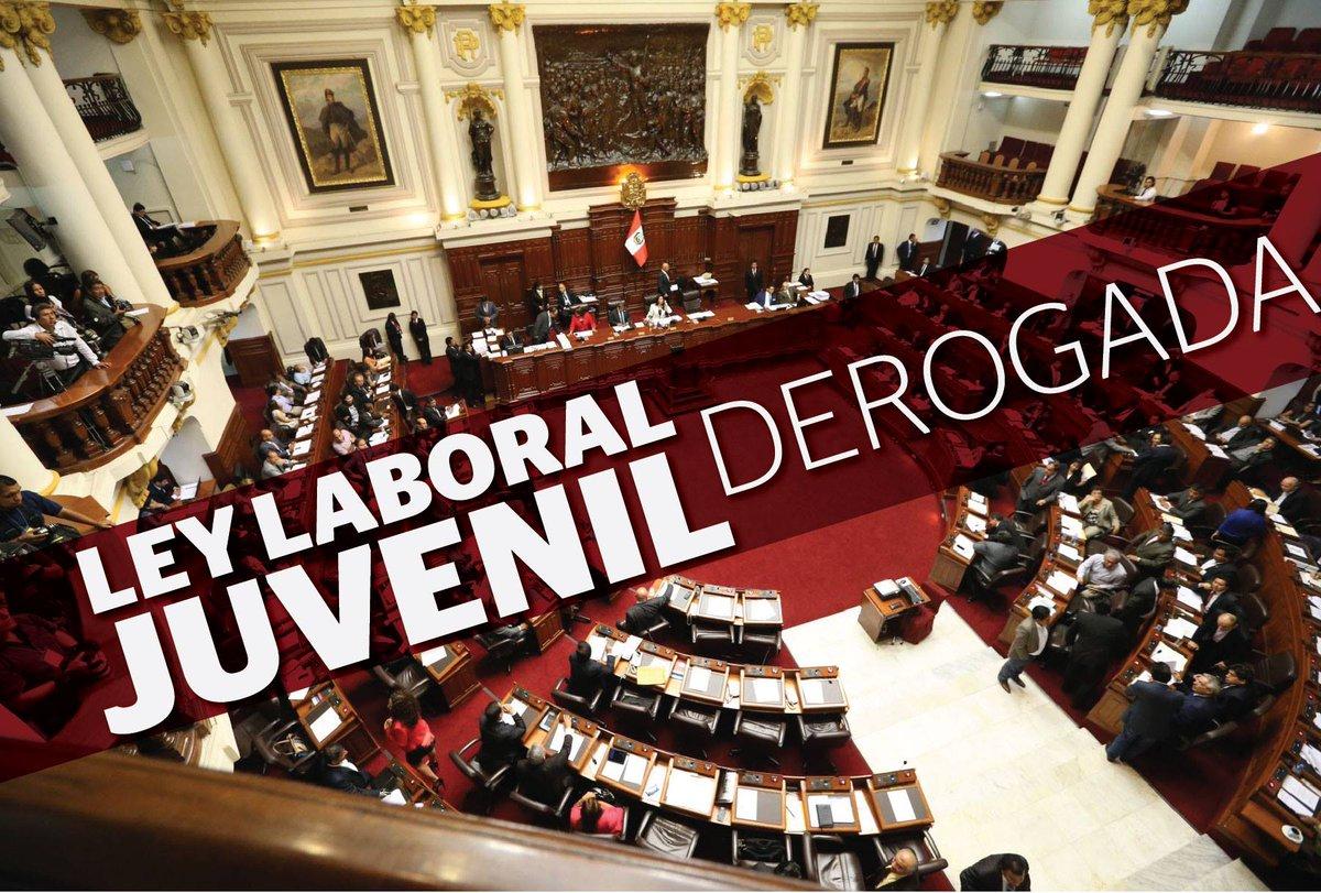 La #LeyLaboralJuvenil fue derogada por el pleno del Congreso http://t.co/GmTnC6SPpH