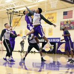"""@Lakers: Nick Young landed wrong trying 2block this shot. ankle is ""throbbing but Ill be alright."" http://t.co/ySExvLmYHL"" great pic"