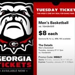 This weeks Tues Tix Deal starts now!  $8 for @UGABasketball vs Vandy tom 7p! http://t.co/SzhvS4ADsn promo code MBB27 http://t.co/ZN0L4eMmqq