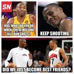 Kobe and Russ have a special understanding on the need to keep shooting even after going 0/7 in a quarter... http://t.co/a0XXoRgCm4
