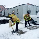 JCFD recruits shovel snow outside of the OEM command center. http://t.co/TGbB84t6SP