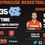 Cooney with 15 points & the Orange defense gets 9 steals to take a 40-35 halftime lead at UNC #CuseMode http://t.co/vmUoYQuPAU