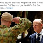 One a pay cut and one a Knighthood. Time to make Captains Call Tony and give the ADF a Fair Pay Deal .... #auspol http://t.co/QS8WdovIog