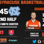 Cooney gets his 4th 3-pointer early in the 2nd half, Orange lead by 2 at UNC http://t.co/pST3WtSzhP