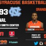 Final: Syracuse falls at North Carolina, 93-83 http://t.co/Sbf0XCme9F