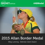 Congrats @meglanning7, winner of the Belinda Clark Award! Watch LIVE: http://t.co/a86RM9ylC1 #ABMedal http://t.co/4Bly4WgBAl