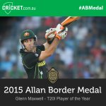 Great work @Gmaxi_32, Australias T20I Player of the Year! Watch LIVE: http://t.co/a86RM9ylC1 #ABMedal http://t.co/c926by0gRM