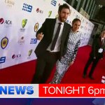 All the red carpet fashion from Allan Border Medal @9NewsBrisbane 6pm. Heres Glenn Maxwell and his partner. http://t.co/2UrG4VLaiV