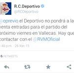 Gran decisión dl @RCDeportivo rectificando x lo q si se venderan entradas a aficionados, para el encuentro cn el Rayo http://t.co/MlQtYuH4g4