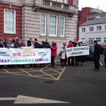 Library campaigners from across Lincolnshire at County Council offices ahead of the #LincsLibraryScrutiny meeting http://t.co/QZumRPyZAM