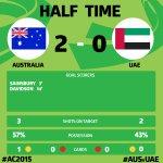 Half Time: @Socceroos 2:0 UAE #AC2015 #AUSvUAE http://t.co/EwexTMkLhZ