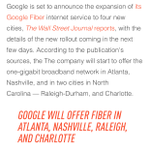 Google Fiber coming to two North Carolina cities? How about three, folks. #sorrydurham http://t.co/p2kFaBAHJf