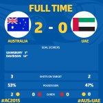 Full Time: @Socceroos 2:0 UAE #AC2015 #AUSvUAE http://t.co/jm0pOmWaZO