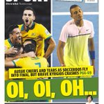 Tomorrows @couriermail back page. @Socceroos triumph & @NickKyrgios brave but beaten at @AustralianOpen http://t.co/Eg85w41s8c