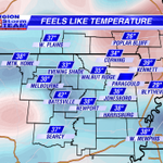 Temperatures may be in the 40s for some this morning, but it Feels Like its in the 30s with the breeze. #arwx #mowx http://t.co/MFmAWQDt4o