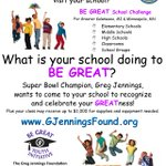 BE GREAT Sch Challenge: Kzoo & Minneapolis schools could win visit from @GregJennings! Due Feb 27 @GJenningsFound http://t.co/YHgdRtXhyI