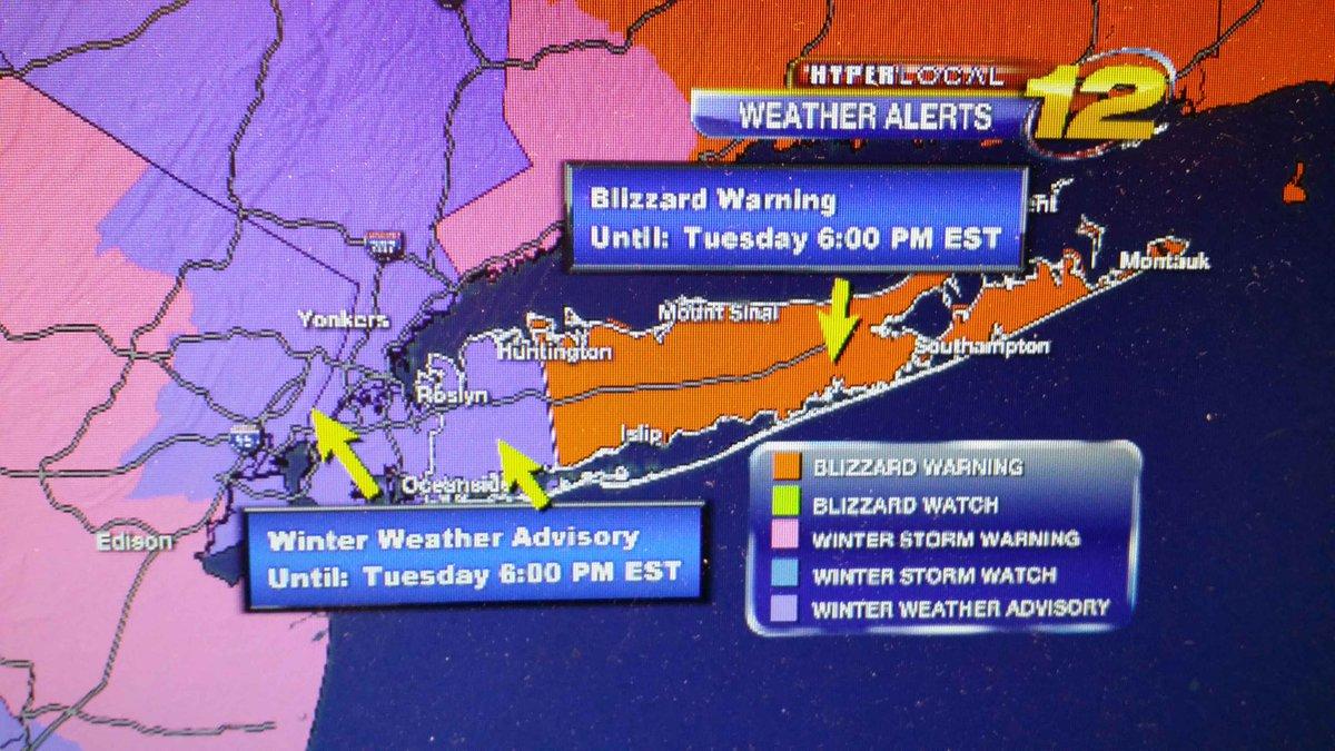 Updated #wxalert winter weather advisory for Nassau County.. Blizzard warning for Suffolk county til 6pm http://t.co/FE70Ji53T3