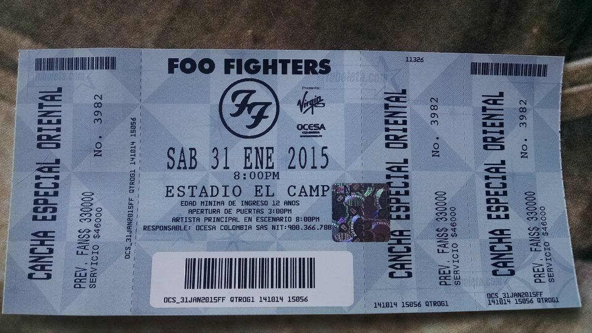 Con tu boleta #FooFighters recibes 2X1 en Alitas BBQ y Cerveza Nacional desde hoy y hasta el domingo 1 Febrero \o/ http://t.co/YmpXepj1UO