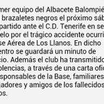 El Alba lucirá brazaletes negros ante el Tenerife en memoria de las victimas del accidente de la Base de Los Llanos http://t.co/TnmuNUNNOg