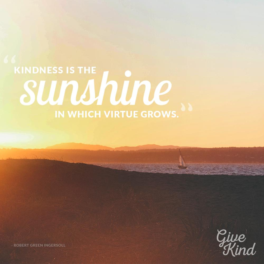 """""""Kindness is the sunshine in which virtue grows."""" - Robert Green Ingersoll   Make some sunshine today. #GiveKind http://t.co/aglK2VNrKn"""