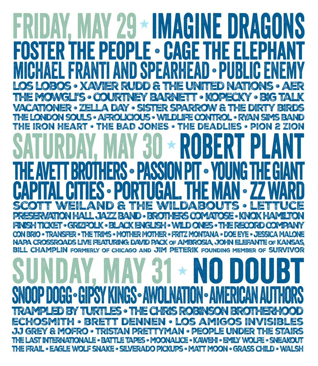 MT @MusicSF: @BottleRockNapa has announced its daily schedule. http://t.co/VdESzcxTSx http://t.co/ryHmmqj03N - @Moonalice on Sun. 31!