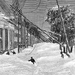 Fallen telegraph poles on 11th Street after the #Blizzard of 1888. After this storm, #NYC decided to bury the lines! http://t.co/AwXZyy0ysX