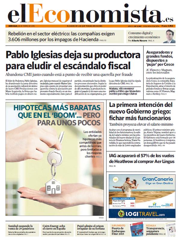 Pablo Iglesias deja su productora para eludir fraude fiscal. Vía @JPBellido: #EnPortada Mañana en EL ECONOMISTA http://t.co/mZ8BALqAtF