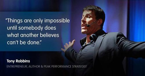 "Things are only impossible until somebody does what another believes can't be done."" @TonyRobbins #quote #success http://t.co/GdBoTN5yCg"""
