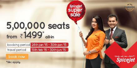 The SpiceJet Super Sale is back. 500,000 seats up for grabs from Rs.1499 all-in. Book now on http://t.co/JMaXEMQwka http://t.co/7GBus4FLKH