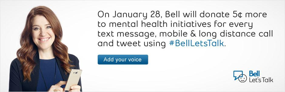 It's Bell Let's Talk Day. Tweet using #BellLetsTalk and Bell will donate 5 cents to mental health initiatives. http://t.co/zh5UME32cL