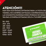 ATENCIÓN!!! Sustraídas entradas para la fiesta del viernes, no compres entradas entre estas numeraciones, no valdrán. http://t.co/Kd2KtsbyvE