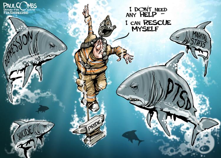 It's #BellLetsTalk day about #PTSD in public safety along with @IGotYourBack911 and here's a 'toon from @paulcombsart http://t.co/PIw3GYTuEH
