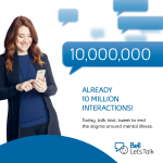 Weve surpassed 10 million texts, calls, tweets & Facebook shares! Let's keep the conversation going. #BellLetsTalk http://t.co/bWVMmxgm4E