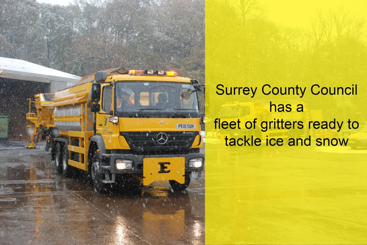 Gritters will be heading out across Surrey again tonight from 6pm with road temperatures expected to plummet to -2.4C http://t.co/t7AJnuoFUW